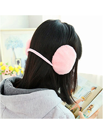 Hiphop Pink Pure Color Simple Design Wool Fashion Earmuffs