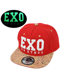 Tanzanite Red Embroidered Letter Exo Simple Design Canvas Baseball Caps