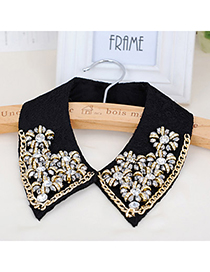 Sparrow Gray & Black Metal Flower Shape Decorated Simple Design Lace Detachable Collars