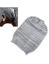 Royal Light Gray Pure Color Stripe Simple Design Cashmere Knitting Wool Hats