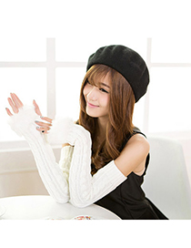 Petite White Imitation Cashmere Decorated False Sleeves Deisgn Cashmere Fingerless Gloves