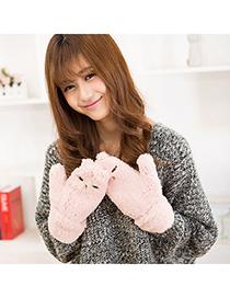 Polaris Pink Lovely Cat Pattern Simple Design Wool Full Finger Gloves