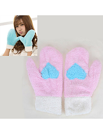 Emerald Pink Heart Pattern Fingerless Simple Design Wool Full Finger Gloves