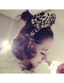 Inexpensiv Coffee Leopard Pattern Decorated Rabbit Ears Design Pp Cotton Fashion earmuffs