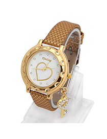 Hemming Gold Color Key Shape Decorated Simple Design Alloy Ladies Watches