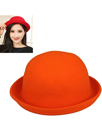 Bulk Orange Pure Color Simple Design Woolen Beanies Others