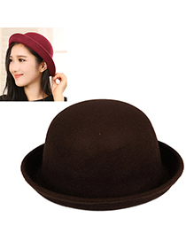 Down Coffee Pure Color Simple Design Woolen Beanies Others