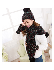 Portable Black Ball Decorated Simple Design Wool Knitting Wool Scaves