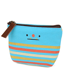 Expired Blue Smile Pattern Simple Design Canvas Wallet
