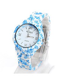 Bead Blue Flower Leaf Pattern Decorated Simple Design Alloy Ladies Watches