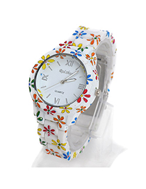 Squash Multicolor Flower Pattern Decorated Simple Design Alloy Ladies Watches