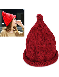 Rebel Red Pure Color Twist Simple Design Wool Knitting Wool Hats