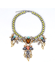 Bead Multicolor Diamond Decorated Waterdrop Shape Design Alloy Bib Necklaces