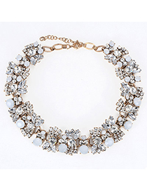 Shopping White Diamond Decorated Simple Design Alloy Fashion Necklaces