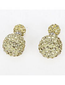 Huge Ligth Yellow Diamond Decorated Round Shape Design Alloy Stud Earrings