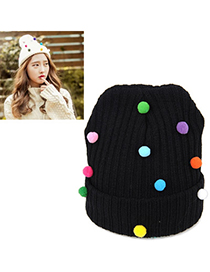 2011 Black Small Colored Balls Decorated Simple Design Wool Knitting Wool Hats