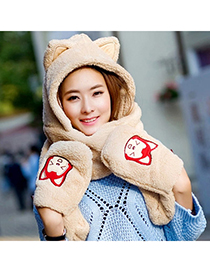 Inexpensiv Khaki Lovely Fox Pattern Simple Design Plush Beanies Others