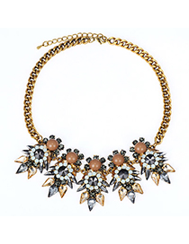 Attractive Gray Diamond Decorated Waterdrop Shape Design Alloy Fashion Necklaces