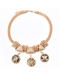 Shopping Gold Color Diamond Decorated Round Shape Design Alloy Fashion Necklaces