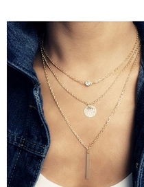 Personality Silver Color Round Shape Decorated Multilayer Design Alloy Body Chains