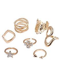 Indie Gold Color Diamond Decorated Star Shape Design Alloy Korean Rings