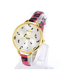 Tory Plum Red Leopard Pattern Simple Design Pu Ladies Watches