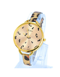 Printable Gold Color Leopard Pattern Simple Design Pu Ladies Watches