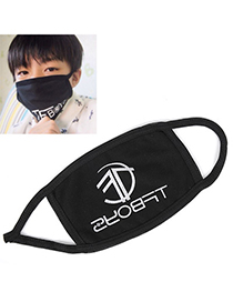 Everlas Black Letter Tfboys Decorated Simple Design Cotton Face Mask