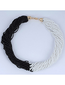 Cute White & Black Beads Decorated Weave Design Alloy Korean Necklaces