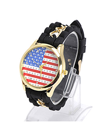 Cardboard Black Diamond Decorated Flag Pattern Design Alloy Ladies Watches