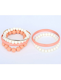 Fashion Pink Pearl Decorated Multilayer Design Alloy Fashion Bangles