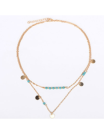 Peterbilt Gold Color Beads Decorated Doulbe Layer Design Alloy Korean Necklaces