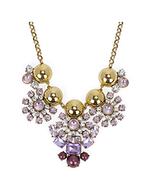 Display Gold Color & Pink Diamond Decorated Flower Design Alloy Fashion Necklaces