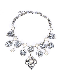 Nautical White Pearl Decorated Flower Design Alloy Fashion Necklaces