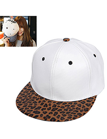 Concealed White Leopard Pattern Simple Design Pu Baseball Caps