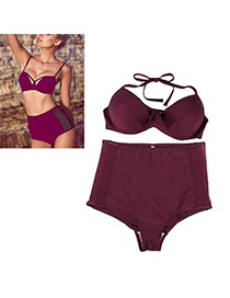 Detachable Dark Purple Pure Color Waist Simple Design Nylon Sexy Bikini
