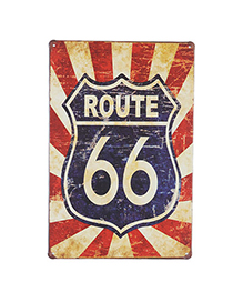 Charming Navy Blue Letter Route 66 Pattern Simple Design Iron