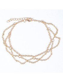 Moving Gold Color Multilayer Simple Design Alloy Fashion Anklets