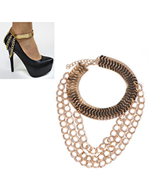 Monogram Gold Color Multilayer Simple Design Alloy Fashion Anklets