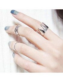 Active Silver Color Crown Shape Decorated Simple Design Alloy Korean Rings