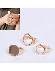 Foldable Gold Color Geometrical Shape Decorated Simple Design Alloy Korean Rings