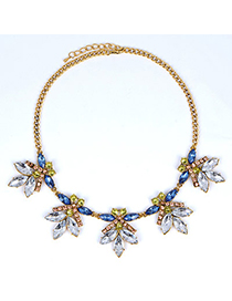 Cargo Multicolor Diamond Decorated Bee Shape Design Alloy Bib Necklaces