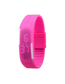 Formal Pink Pure Color Creative Simple Design Silicone Ladies Watches