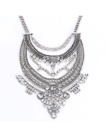 Fashion Silver Color Oval Shape Diamond Decorated Hollow Out Short Chain Necklace