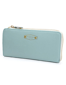 Mini Blue Classic Letter Pattern Simple Design Pu Wallet