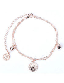 elegant Rose Gold Coin Shape Decorated Simple Design Alloy Fashion Anklets