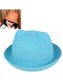 children Sky Blue Pure Color Crimping Design Twine Children's Hats