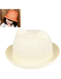 children White Pure Color Crimping Design Twine Children's Hats