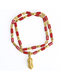 temperament Red Peanut Shape Decorated Doulbe Layer Design