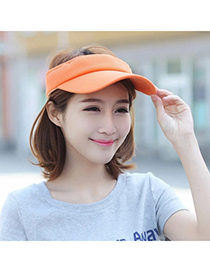 Trendy Orange Pure Color Empty Top Shape Design Acrylic Fibres Sun Hats